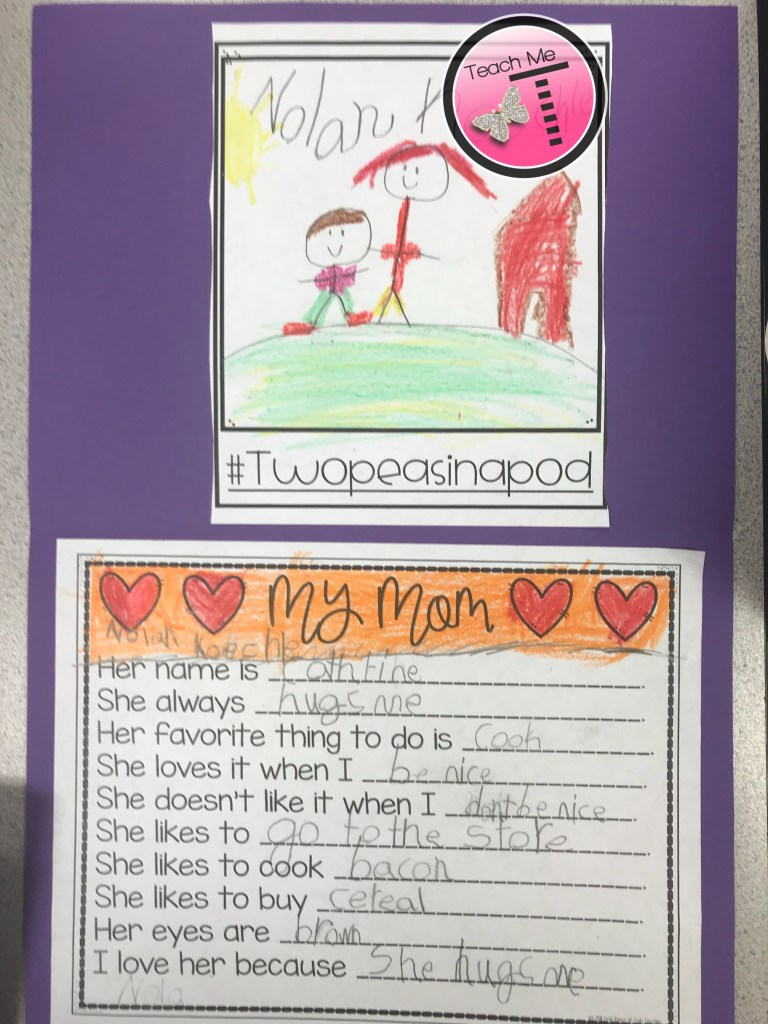 Photograph of a craft that a student created for a Mother's Day gift from kids.  It has a student-drawn picture of his and his mom at the top, and a list of things that his mom likes at the bottom.