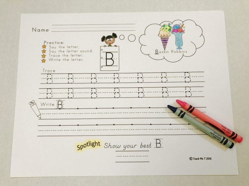 A paper featuring letters of the alphabet for students to trace and then try independently.  Capital letter B is the focus of the page.