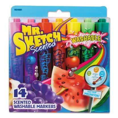 An image of a 14-count pack of colorful, scented markers by Mr. Sketch brand markers.