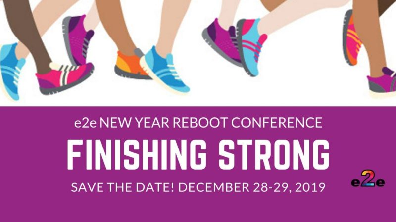 This is a brightly colored graphic that shows sets of legs/feet that are moving forward in a running motion.  The graphic is announcing a Teacher Virtual Conference that is promoting finishing the 2019 school year strong.