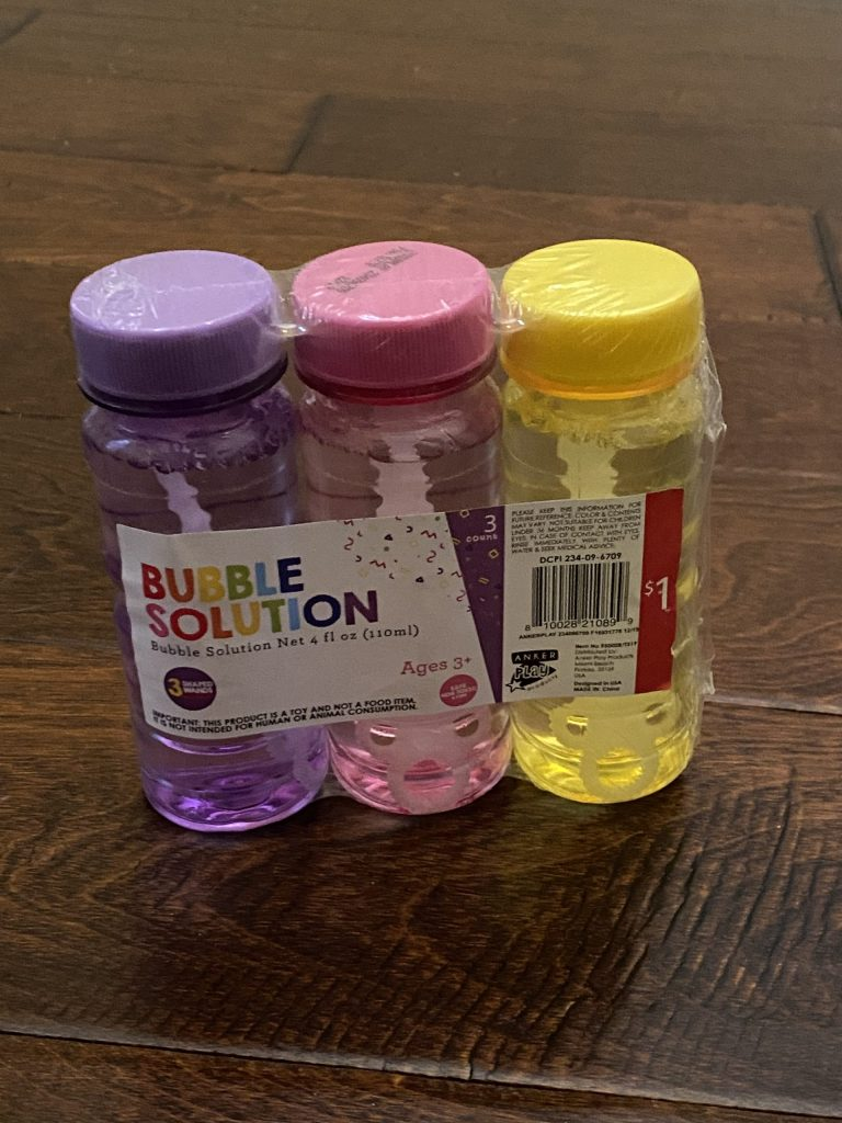 image of a 3-pack of bubbles from Target's Dollar Spot wrapped in plastic