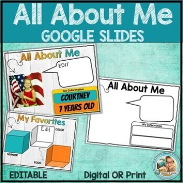 "An image for an ""All About Me"" activity for Google Slides"