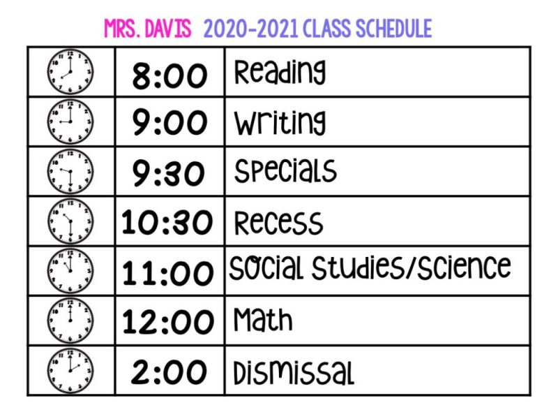 An image of a visual classroom schedule.  There are 3 columns and 7 rows.  Clocks that show the time for each subject, the academic subject, and the digital time.