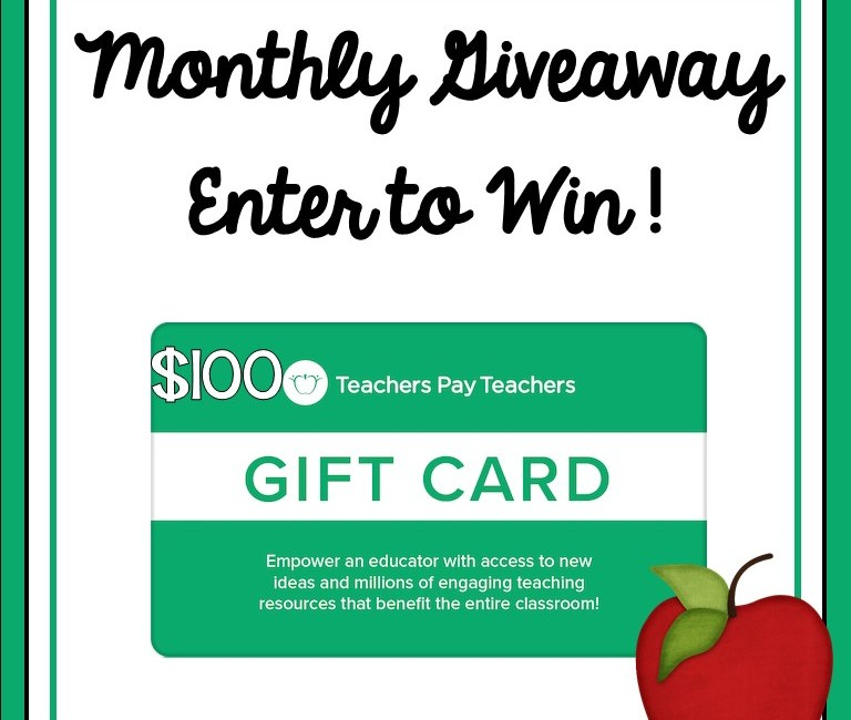 Teacher Giveaway! Monthly $100 Teachers Pay Teachers Giveaway- September 2020