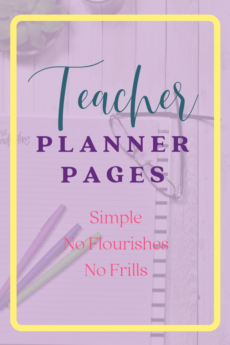 Download these simple teacher planner pages free. No frills. No flourishes. Room to plan lessons, keep lists and leave notes for the week.