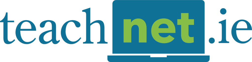"""TeachNet.ie logo - the word """"net"""" is stylised in green and surrounded by a graphic representation of a laptop."""