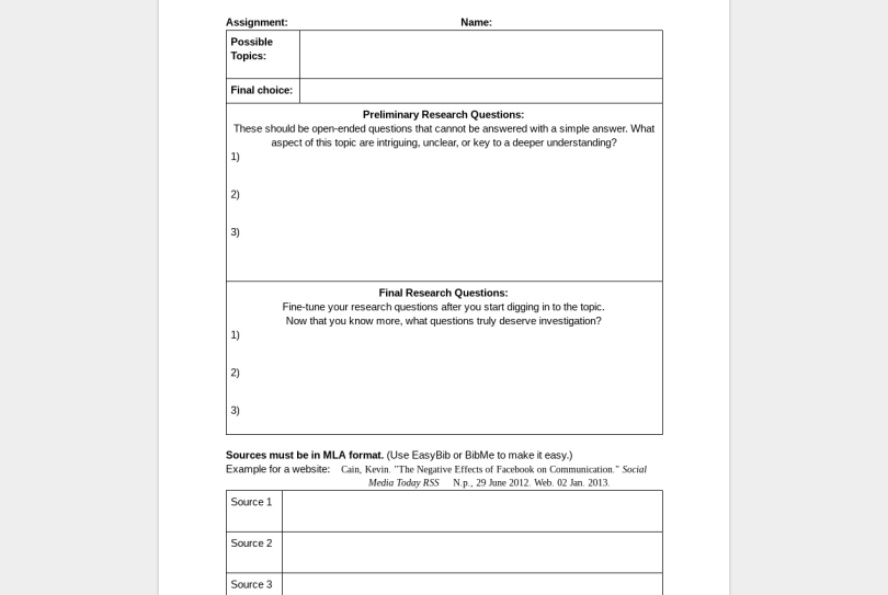 Huckleberry Finn pre-reading activities template