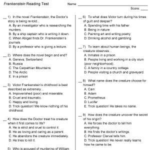 Frankenstein reading test print view