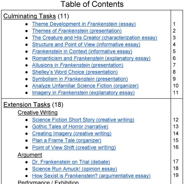 Frankenstein unit assignments table