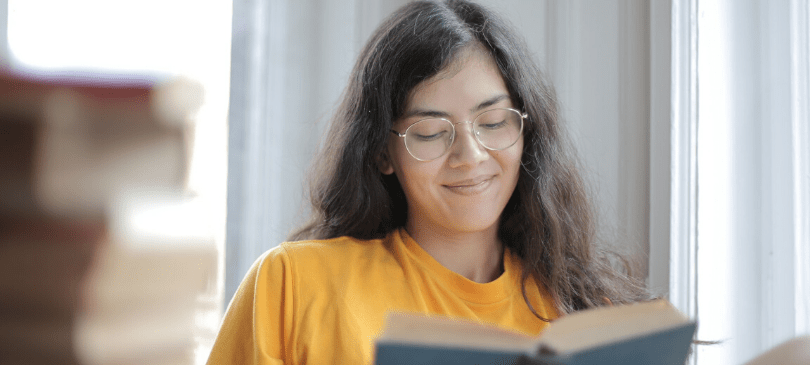 Girl reading a book photo