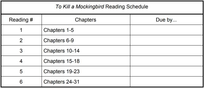 Reading schedule handout