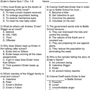 Ender's Game reading check 1