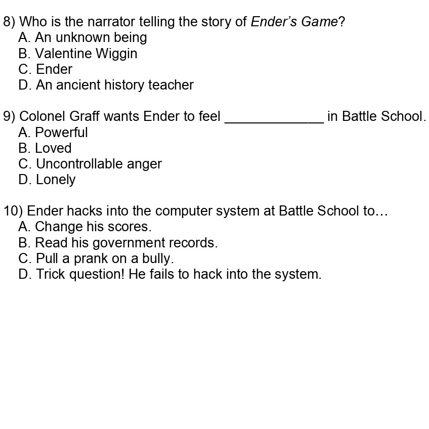 Ender's Game: Study Questions | SparkNotes
