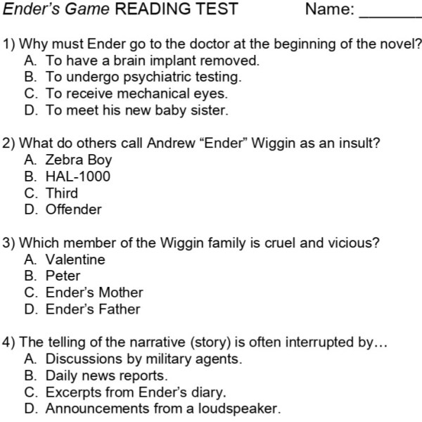 Ender's Game test page 1