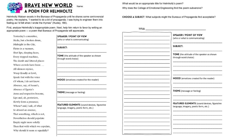 Brave New World fun worksheet - Edited
