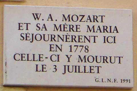 Memorial plaque to Mozart's Mother