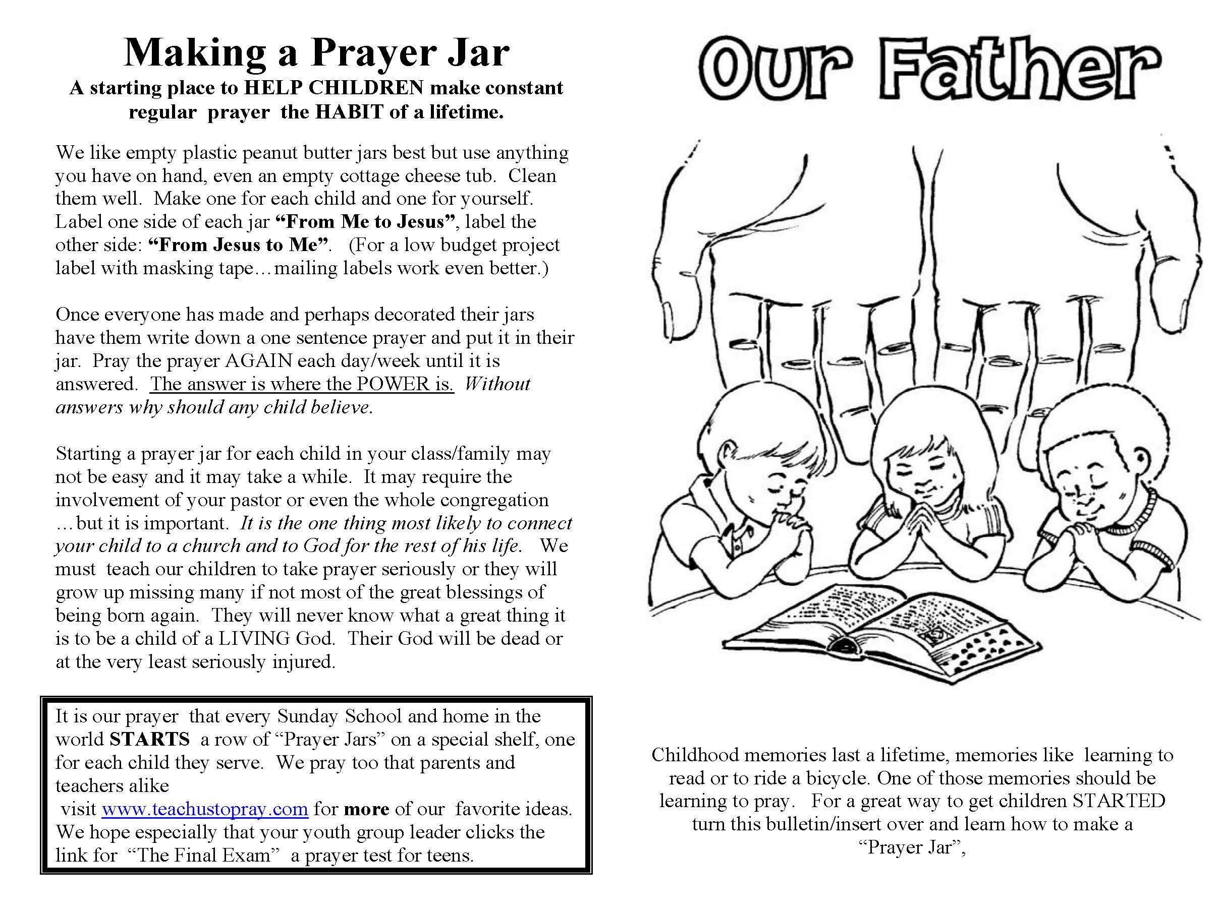 Prayer Worksheet For Youth