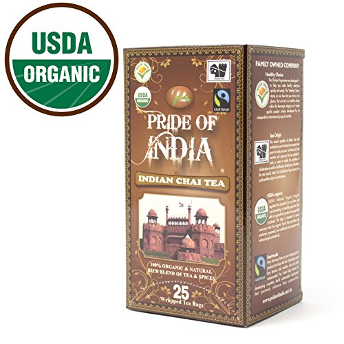 Pride Of India – Organic Indian Chai Tea, 25 Tea Bags
