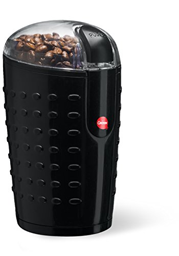 Quiseen One-Touch Electric Coffee Grinder. Grinds Coffee Beans, Spices, Nuts and Grains – Durable Stainless Steel Blades – Sleek Black Design