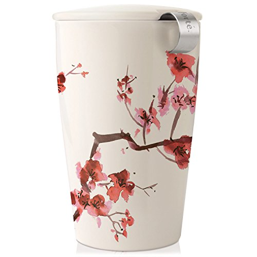Tea Forte KATI Single Cup Loose Leaf Tea Brewing System, Insulated Ceramic Cup with Improved Tea Infuser and Lid, Cherry Blossoms