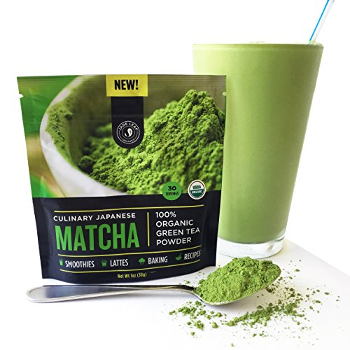 New! Authentic Japanese Matcha Green Tea Powder By Jade Leaf Organics – 100% USDA Certified Organic, All Natural, Nothing Added – Culinary Grade for Mixing into Smoothies, Lattes, Baking & Cooking Recipes (30g starter size)