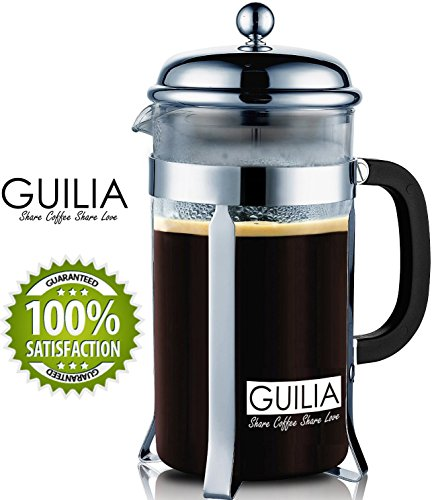 French Press Coffee & Espresso Maker 8 Cup, 34OZ for Great Fresh Brew Experience from GUILIA, 2 Bonus Replacement Filters, Press Pot Made of Borosilicate Glass and Stainless Steel (Chrome)