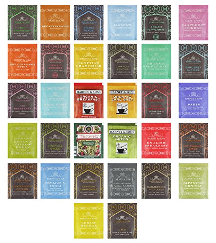 Harney & Sons Tea Variety Pack Sampler Assortment of Black Tea, Green Tea, Herbal Tea, Fruit Tea, Berry Tea & Many More! Variety Pack Includes Hot Cinnamon Spice, Organic Earl Grey, Organic Peppermint, Orange Peko, Chai, Ceylon & India, Darjeeling Highlands, Egyptian Chamomile, Japanese Sencha, Organic Rooibos, Irish Breakfast, Organic Peppermint, Tropical Green, Lemon Herbal, Holiday Tea, Organic Green, Paris, Red Raspberry & Many More!! Includes Our Exclusive Custom Varietea Mints!! Bulk Sampler of 40 Harney & Sons Tea Bags (40 Count)