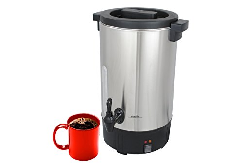 Cafe Amoroso 100-Cup Stainless Steel Double Walled Commercial Coffee Maker Urn