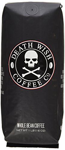 Death Wish Whole Bean Coffee, The World's Strongest Coffee, Fair Trade and USDA Certified Organic – 16 Ounce Bag