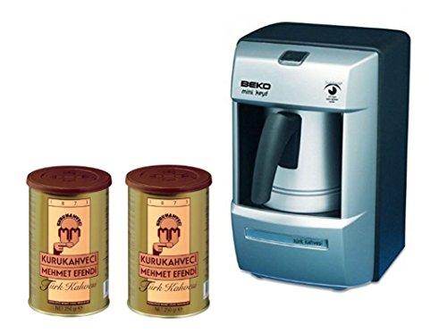 Beko Turkish Coffee Maker BKK 2113M (Usa 120 Volt) with Two (2) Mehmet Efendi Turkish Coffee 8.8OZ Bundle