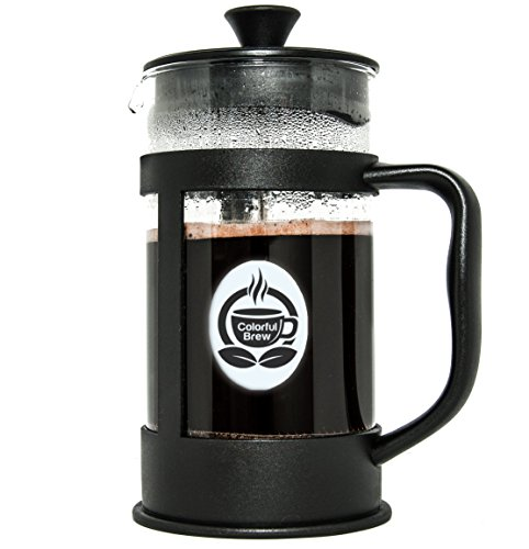 Colorful Brew French Press Made with the Thickest Commercial Grade Glass (2.5mm Thick) – Brews 34 Ounces of Coffee -Stainless Steel Hardware