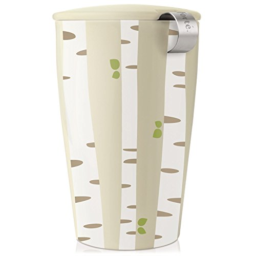 Tea Forte KATI Single Cup Loose Leaf Tea Brewing System, Insulated Ceramic Cup with Tea Infuser and Lid, Birch Forest – NEW Infuser Design
