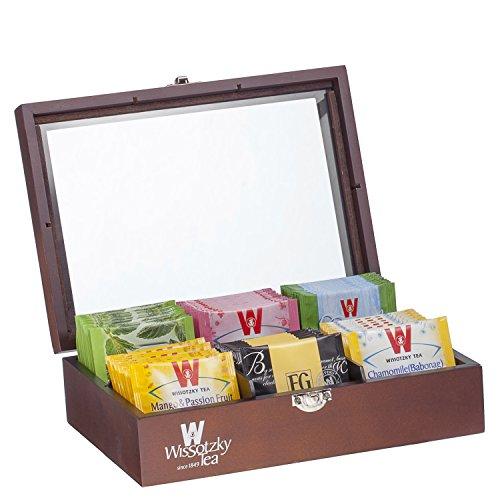 Wissotzky Tea 60 Dessert Flavored Teas in an Ebony Tea Chest – Flavors vary