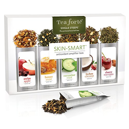 Tea Forte SKIN-SMART Single Steeps Loose Leaf Tea Sampler, 15 Single Serve Pouches – Antioxidant Amplifier Teas