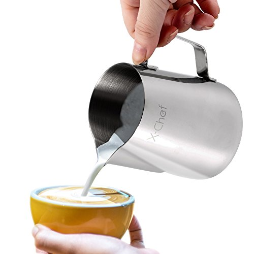 X-Chef Stainless Steel Milk Cup Milk Frothing Pitcher, 20-ounce