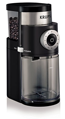 KRUPS GX5000 Professional Electric Coffee Burr Grinder with Grind Size and Cup Selection, 8-Ounce, Black