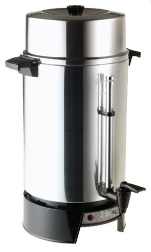 "West Bend 100-Cup Commercial Coffee Urn Features Coffee-Level Gauge; with ""Ready"" Indicator Light and Automatic Keep-Warm Mode, Includes a 2-Way Dripless Faucet for Single-Cup or Continuous Filling"