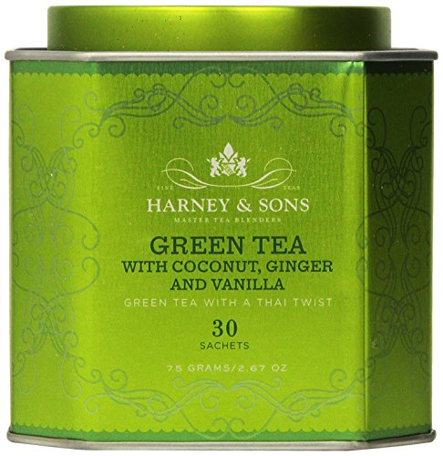 Harney and Sons Green Tea with Coconut , Flavored Green 30 Sachets per Tin, 2.67 oz