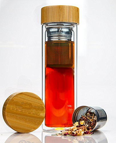Tea Infuser Bottle by IBCE – Double-wall Glass Tea Tumbler with Stainless Steel Tea Filter and Bamboo Lid