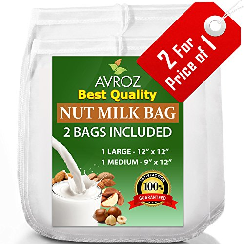 My Best Nut Milk Bag – 2 Pack Large (12″x12″) & Medium (12″x9″) Strong Reusable Almond Milk Bags – Commercial Food Grade Fine Nylon Mesh – Food Strainer & Cheese Maker Coffee & Tea Filter