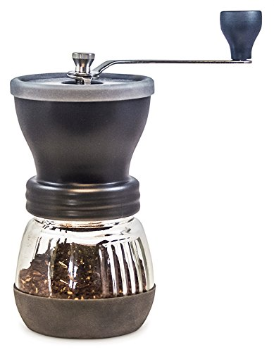 Coffee Grinder from Khaw-Fee – High Quality Adjustable Ceramic Burr – Portable – Consistent Grind for Whole Coffee Beans- Perfect for Pour Over Coffee, Drip Brew, Percolator, French Press, Espresso