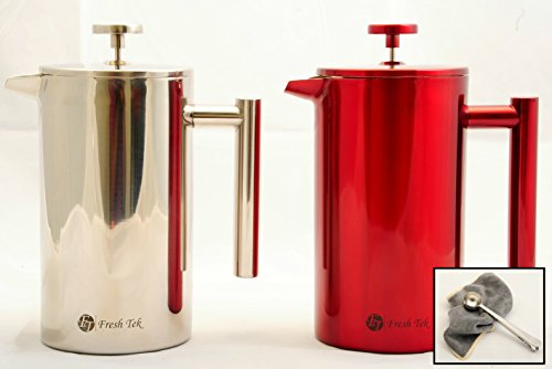 Best French Press Stainless Steel Coffee and Tea Maker. Double Wall Insulation to Retain Heat With Stay Cool Handle. Bargain 8 cup Cafetiere Roast Coffee and Tea Pot. Available in 2 colors. (Silver)