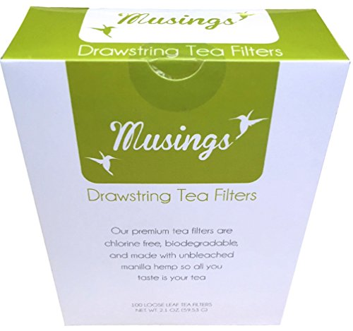 Tea Filter Bags With Drawstring For Loose Leaf Tea By Musings -Disposable Tea Infusers Are Chlorine Free & Biodegradable- *No Mess With Drawstring Closure*