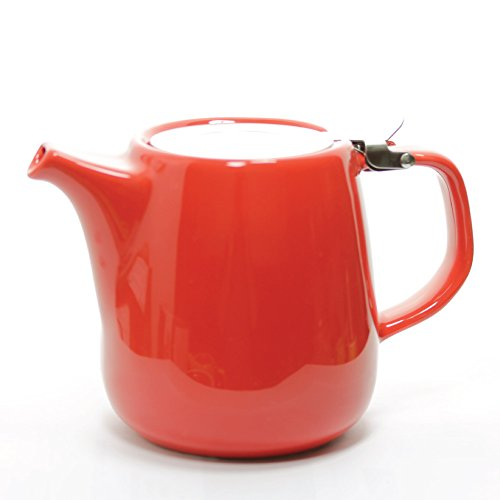 Daze Ceramic Teapot w/ Stainless Steel Lid & Infuser – #1 Best Teapot To Brew Loose Leaf Tea (700ml / 24oz, Red)