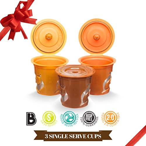 Brewooze Reusable K-cups – refillable k cup compatible with keurig 1.0 and 2.0 brewers