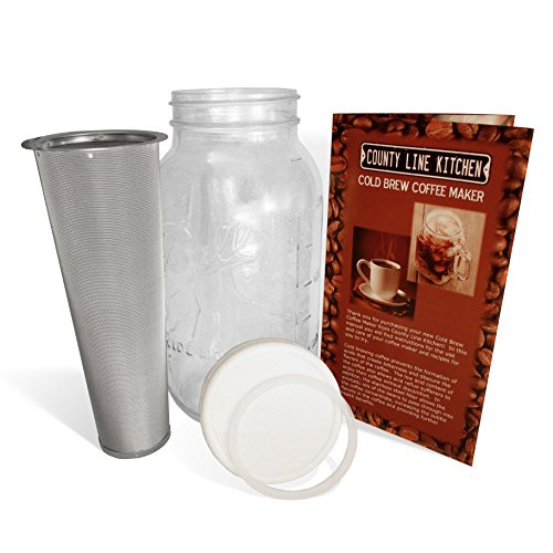 2 Quart (1/2 Gallon) Cold Brew Coffee Maker and Tea Infuser with Mason Jar and Stainless Steel Filter