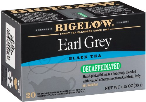 Bigelow Decaffeinated Earl Grey Tea, 20-Count Boxes (Pack of 6)