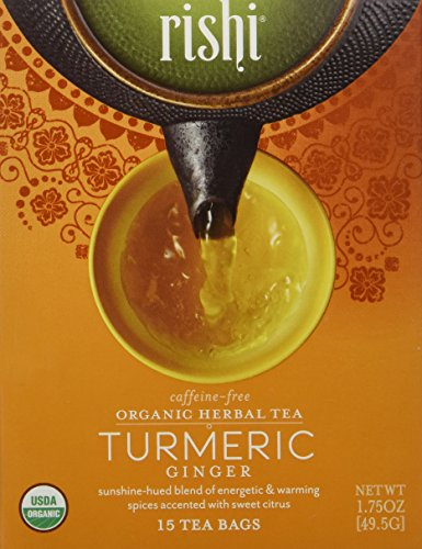 Rishi Tea Organic Herbal Tea Caffeine-Free Turmeric Ginger — 15 Tea Bags