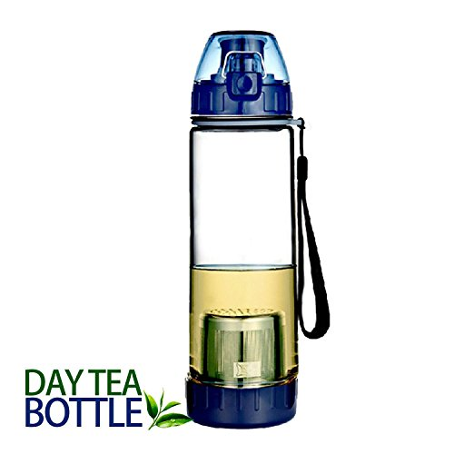Day Tea Bottle | Heavy Duty 17 Oz Bottle with Loose Leaf Tea and Dark Blue Fruit Infuser Design | Premium Environmental Friendly PC Material | Super Portable with Removable Stainless Steel Strainer and Security Leak System | Extremely Simple Usage and Dishwasher Safe Series | 767