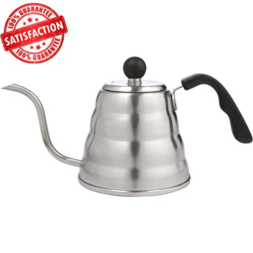 Premium Pour Over Coffee Drip Kettle. 40oz Stainless Steel Kettle with Easy Grip Handle and Gooseneck Spout.